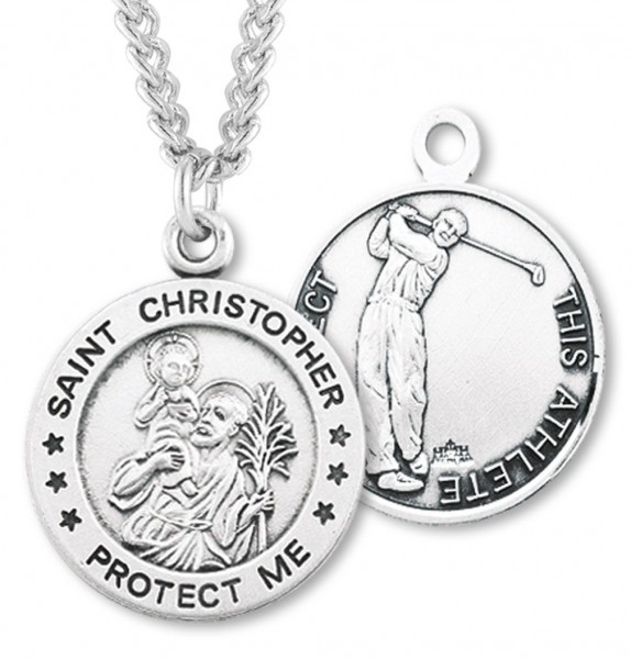 "Round Boy's St. Christopher Golf Necklace With Chain - 24"" 2.4mm Rhodium Plate Chain + Clasp"