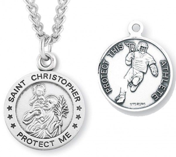 "Round Men's St. Christopher Lacrosse Necklace With Chain - 20"" 2.25mm Rhodium Plated Chain with Clasp"