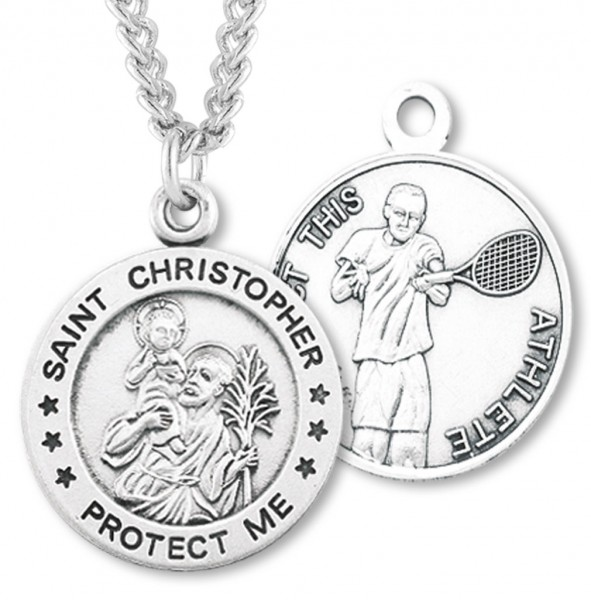 "Round Boy's St. Christopher Tennis Necklace With Chain - 24"" 2.4mm Rhodium Plate Endless Chain"