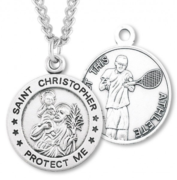 "Round Boy's St. Christopher Tennis Necklace With Chain - 24"" 2.4mm Rhodium Plate Chain + Clasp"