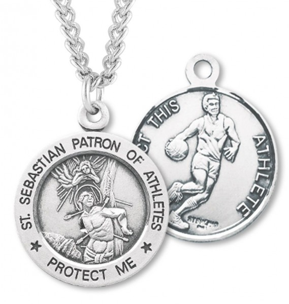 "Round Boy's St. Sebastian Basketball Necklace With Chain - 24"" 2.4mm Rhodium Plate Chain + Clasp"