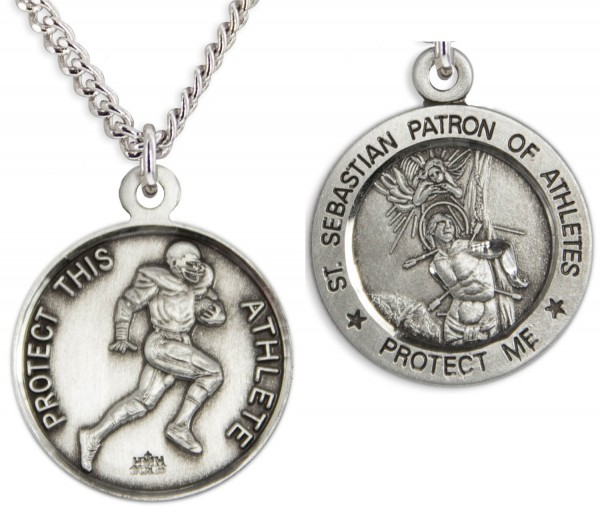 "Round Men's St. Sebastian Football Necklace With Chain - 24"" 2.4mm Rhodium Plate Chain + Clasp"