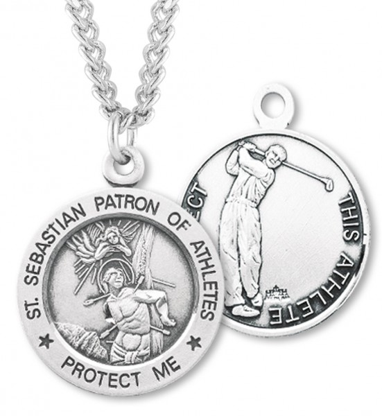 "Round Men's St. Sebastian Golf Necklace With Chain - 24"" 2.4mm Rhodium Plate Endless Chain"
