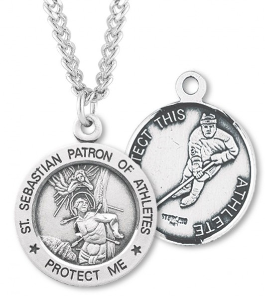 "Round Men's St. Sebastian Ice Hockey Necklace With Chain - 24"" 2.4mm Rhodium Plate Endless Chain"