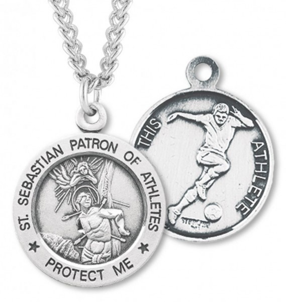 "Round Men's St. Sebastian Soccer Necklace With Chain - 24"" Sterling Silver Chain + Clasp"
