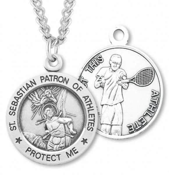 "Round Men's St. Sebastian Tennis Necklace With Chain - 24"" 2.4mm Rhodium Plate Endless Chain"