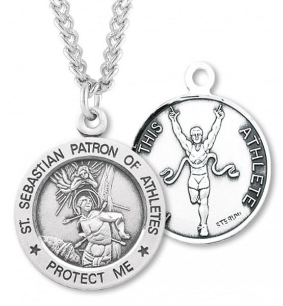 "Round Boy's St. Sebastian Track Necklace With Chain - 24"" 2.4mm Rhodium Plate Endless Chain"