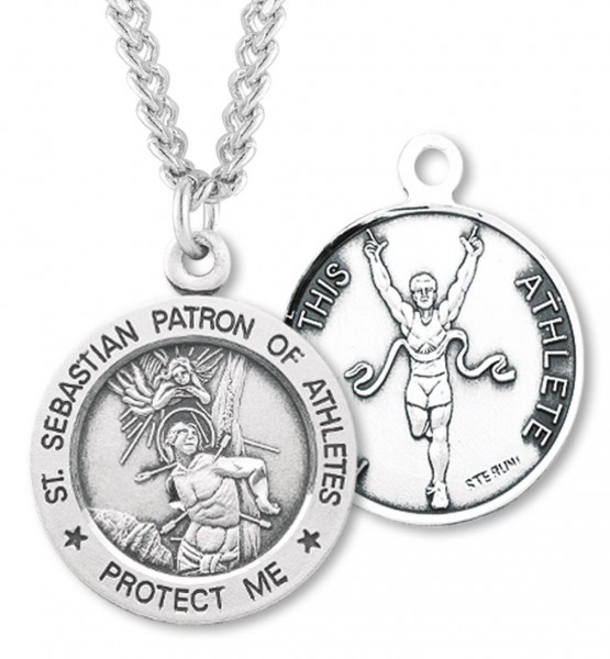"Round Boy's St. Sebastian Track Necklace With Chain - 20"" 2.25mm Rhodium Plated Chain with Clasp"