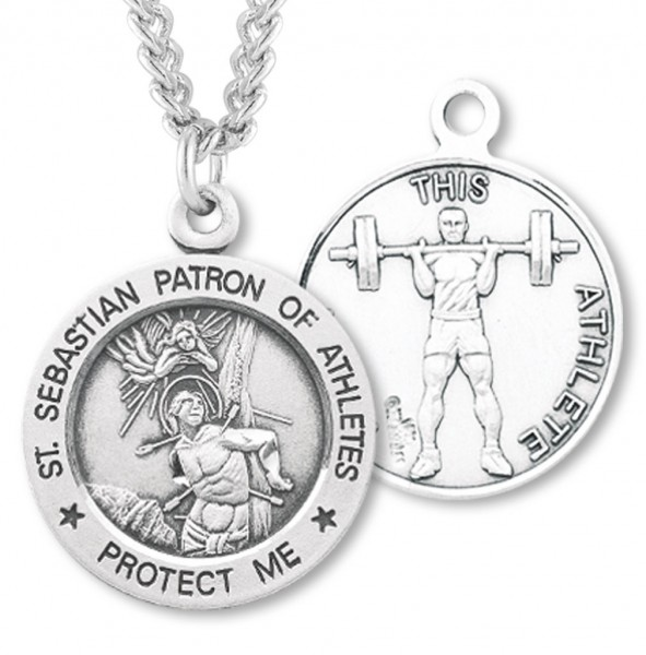 "Round Boy's St. Sebastian Weight Lifting Necklace With Chain - 24"" 2.4mm Rhodium Plate Endless Chain"