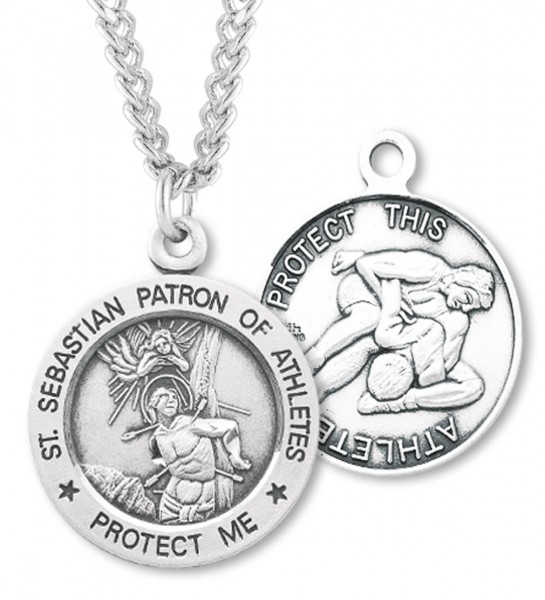 "Round Men's St. Sebastian Wrestling Necklace With Chain - 24"" 2.4mm Rhodium Plate Endless Chain"