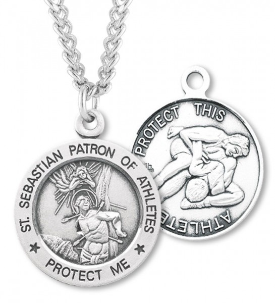 "Round Men's St. Sebastian Wrestling Necklace With Chain - 24"" Sterling Silver Chain + Clasp"