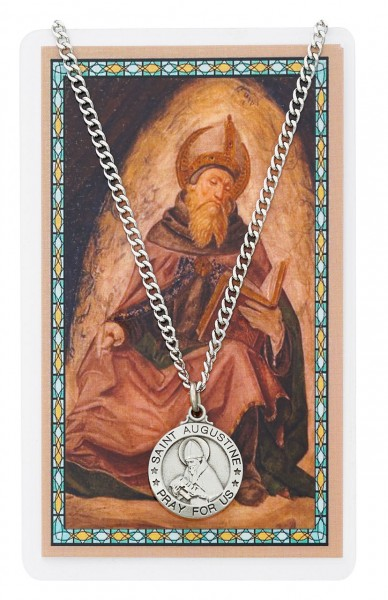 Round St. Augustine  Medal and Prayer Card Set - Silver-tone