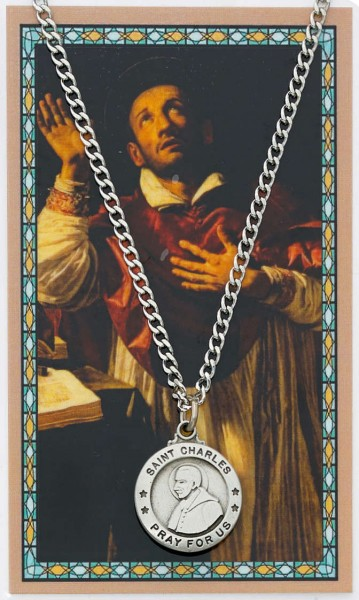 Round St. Charles Borromeo Medal and Prayer Card Set - Silver-tone
