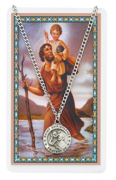 Round St. Christopher Medal and Prayer Card Set - Silver-tone