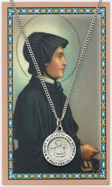 Round St. Elizabeth Ann Seton Medal and Prayer Card Set - Silver-tone