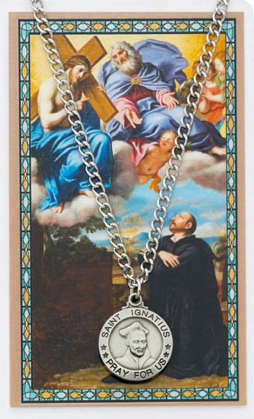 Round St. Ignatius of Loyola Medal and Prayer Card Set - Silver-tone