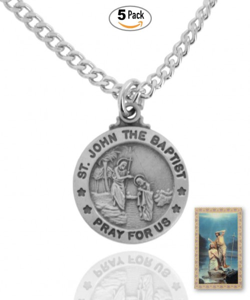 Round St. John The Baptist Medal and Prayer Card Set - Pack of 5