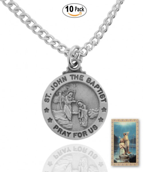 Round St. John The Baptist Medal and Prayer Card Set - Pack of 10
