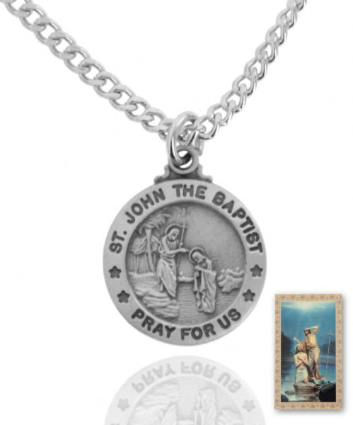 Round St. John The Baptist Medal and Prayer Card Set - Pewter