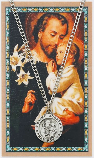 Round St. Joseph Medal and Prayer Card Set - Silver-tone