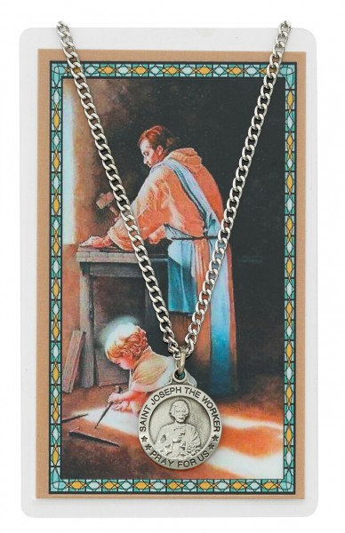 Round St. Joseph The Worker Medal and Prayer Card - Silver-tone