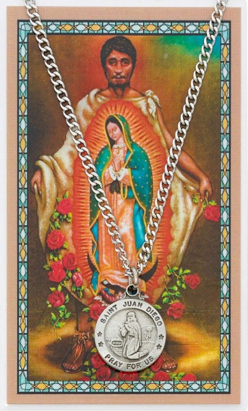 Round St. Juan Diego  Medal and Prayer Card Set - Silver-tone