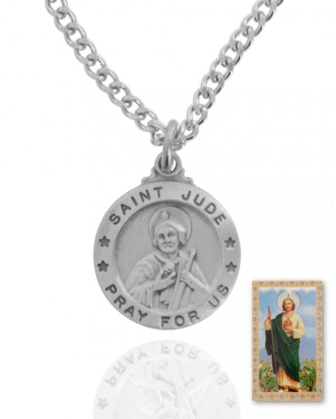 Round St. Jude Medal and Prayer Card Set - Silver-tone