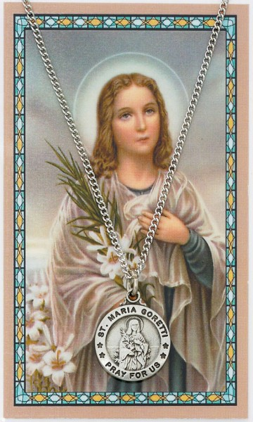 Round St. Maria Goretti Medal and Prayer Card Set - Silver-tone