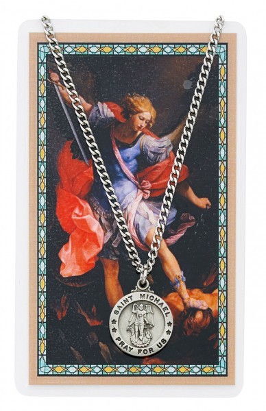 Round St. Michael The Archangel Medal and Prayer Card Set - Silver-tone