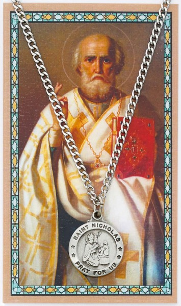 Round St. Nicholas Medal and Prayer Card Set - Silver-tone