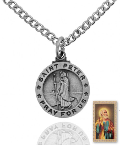 Round St. Peter Medal and Prayer Card Set - Silver-tone