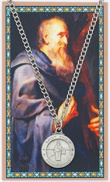 Round St. Philip Medal and Prayer Card Set - Silver-tone