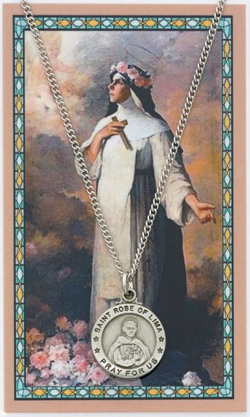 Round St. Rose of Lima Medal and Prayer Card Set - Silver-tone