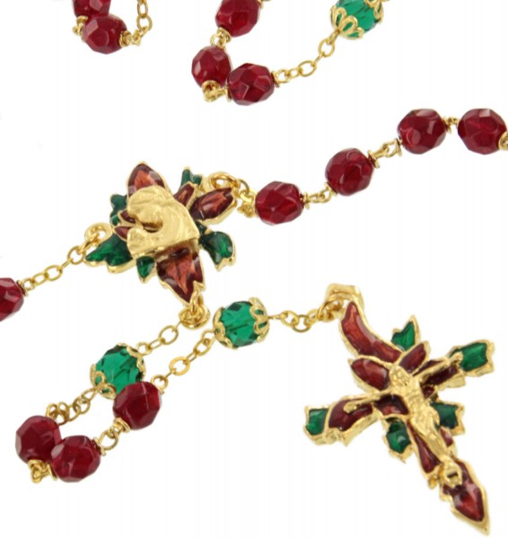 Ruby Red and Green Poinsettia Christmas Rosary - Gold Tone - Multi-Color
