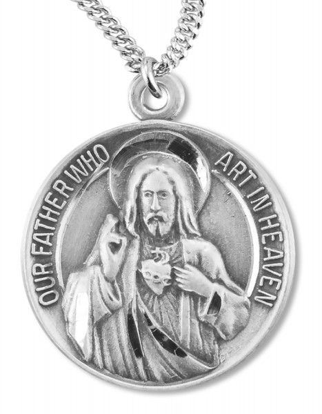 "Sacred Heart of Jesus & Blessed Mary Medal Sterling Silver - 24"" 2.4mm Rhodium Plate Endless Chain"