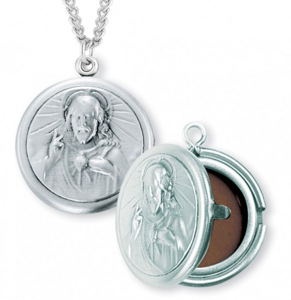 "Sacred Heart of Jesus Locket Necklace, Sterling Silver with Chain - 24"" 2.4mm Rhodium Plate Chain + Clasp"