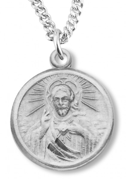 "Women's Sterling Silver Round Sacred Heart of Jesus Necklace with Chain Options - 18"" 2.1mm Rhodium Plate Chain + Clasp"