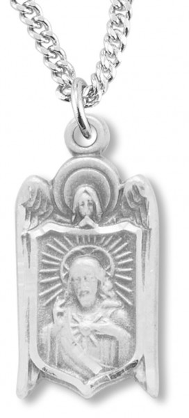"Sacred Heart of Jesus with Angel Necklace, Sterling Silver with Chain - 18"" 1.8mm Sterling Silver Chain + Clasp"