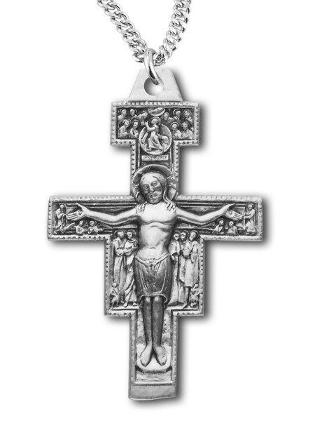 "San Damiano Crucifix Pendant Sterling Silver - 24"" Sterling Silver Chain + Clasp"