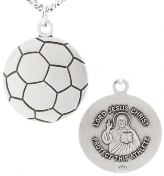"Soccer Ball Shape Necklace with Jesus Figure Back in Sterling Silver - 24"" 2.4mm Rhodium Plate Chain + Clasp"