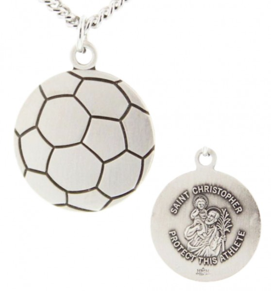 "Soccer Ball Shaped Necklace with Saint Christopher Back in  Sterling Silver - 24"" 2.4mm Rhodium Plate Chain + Clasp"