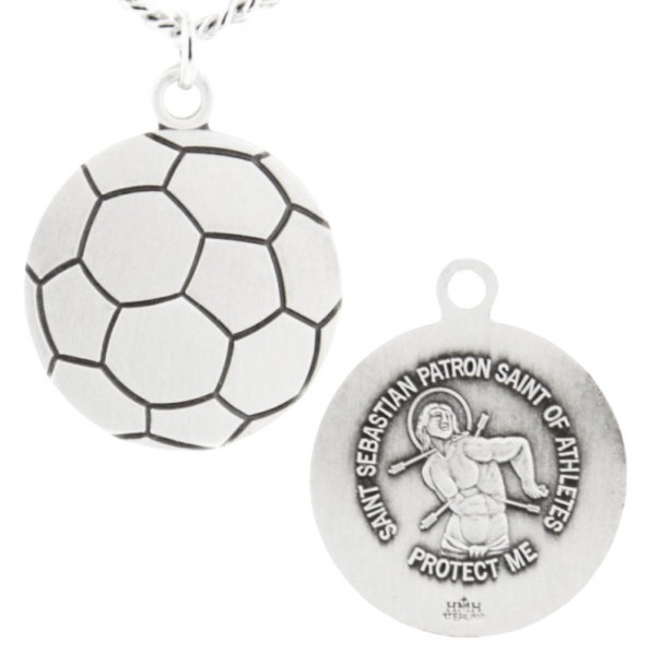 "Soccer Ball Shaped Necklace with Saint Sebastian Back in  Sterling Silver - 24"" Sterling Silver Chain + Clasp"