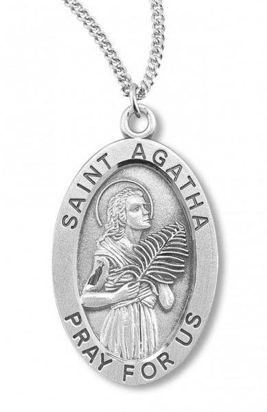 "Women's St. Agatha Necklace Oval Sterling Silver with Chain Options - 18"" 1.8mm Sterling Silver Chain + Clasp"