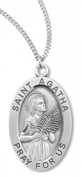 "Women's St. Agatha Necklace Oval Sterling Silver with Chain Options - 18"" 2.1mm Rhodium Plate Chain + Clasp"