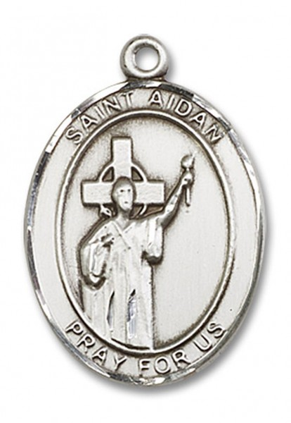 St. Aidan of Lindesfarne Medal, Sterling Silver, Large - No Chain