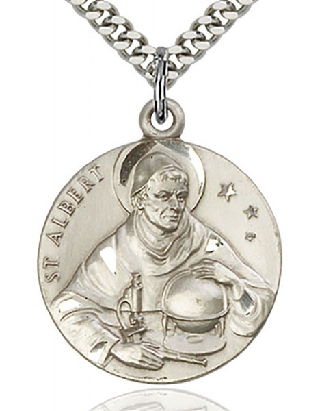 "St. Albert the Great Medal, Sterling Silver - 24"" 2.4mm Rhodium Plate Chain + Clasp"