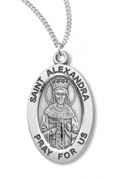"Women's St. Alexandra Necklace Oval Sterling Silver with Chain Options - 20"" 2.25mm Rhodium Plated Chain with Clasp"