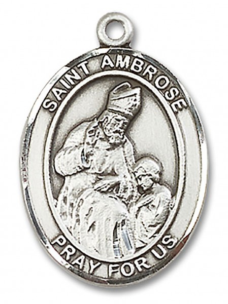 St. Ambrose Medal, Sterling Silver, Large - No Chain