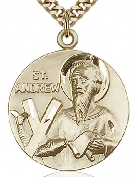 "St. Andrew Medal, Gold Filled - 24"" 2.4mm Gold Plated Chain + Clasp"