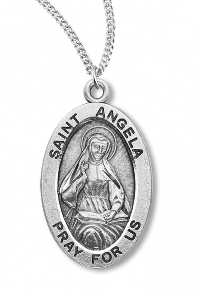 "Women's St. Angela Necklace Oval Sterling Silver with Chain Options - 18"" 2.1mm Rhodium Plate Chain + Clasp"